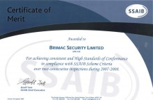 Certificate of Merit as awarded to Brimac Security Limited by the The Security Systems & Alarms Inspection Board (SSAIB)